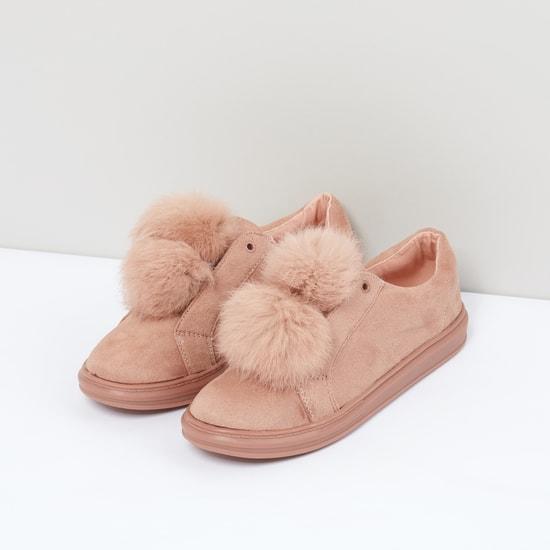 Pom-Pom Detail Slip-On Shoes