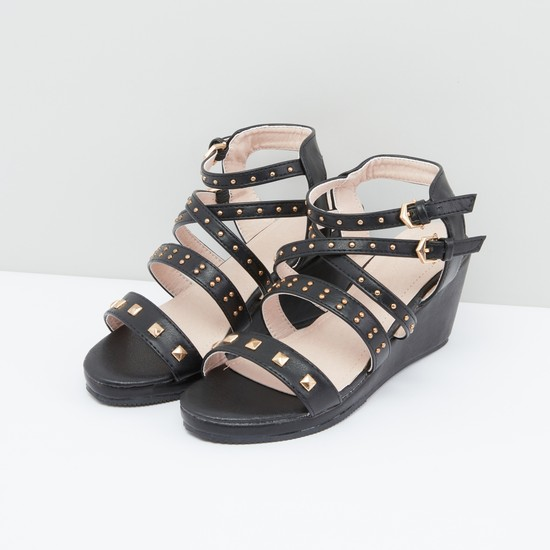 Studded Sandals with Ankle Strap and Pin Buckle Closure