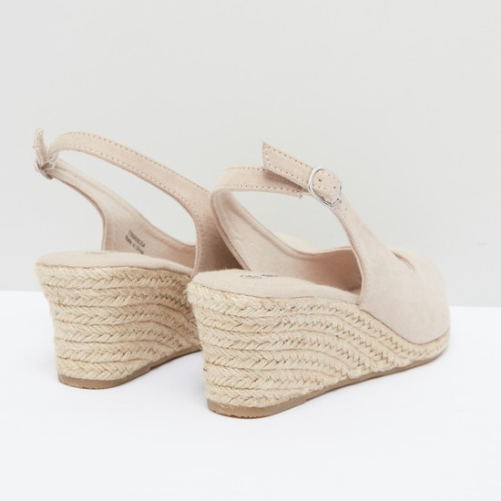 Peep-Toe Wedge Sandals with Buckle Closure