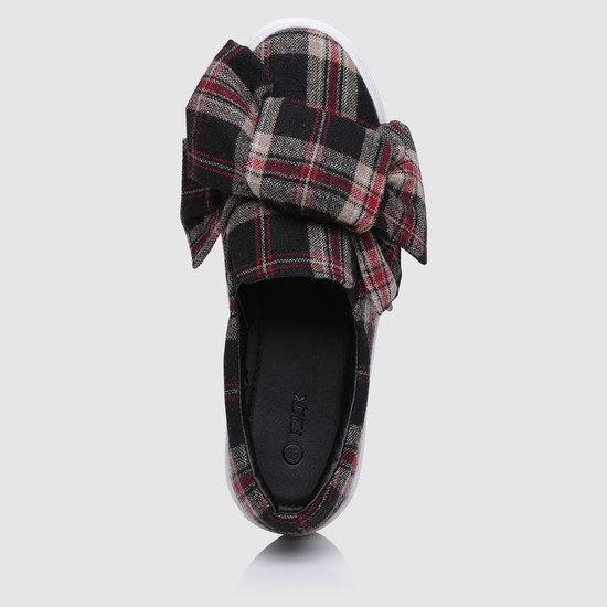 Chequered Slip-On Shoes with Bow