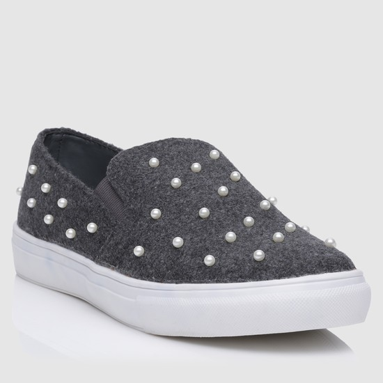 Pearl Embellishment  Slip-On Shoes
