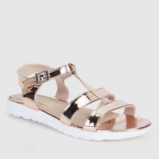 Glossy Sandals with Buckle Closure