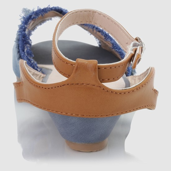 Sandal with Buckle Closure and Fringes