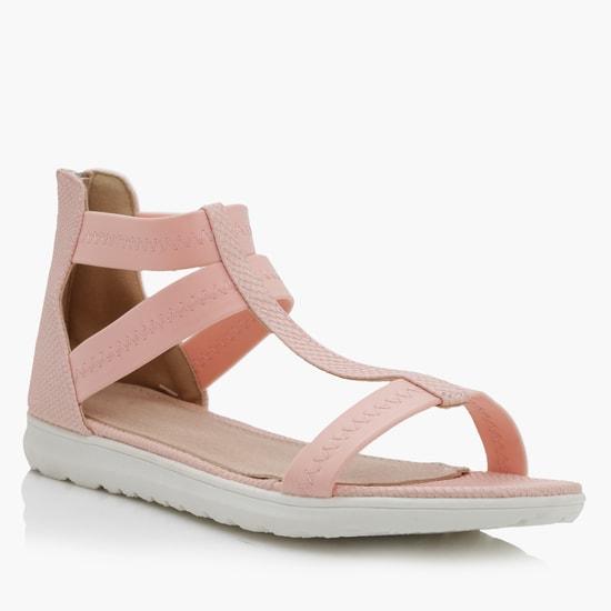Slip-On Sandals with Zip Closure