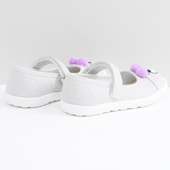Embroidered Shoes with Hook and Loop Closure and Pom-Pom Detail