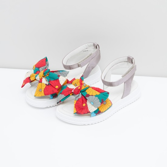 Printed Bow Applique Sandals with Hook and Loop Closure