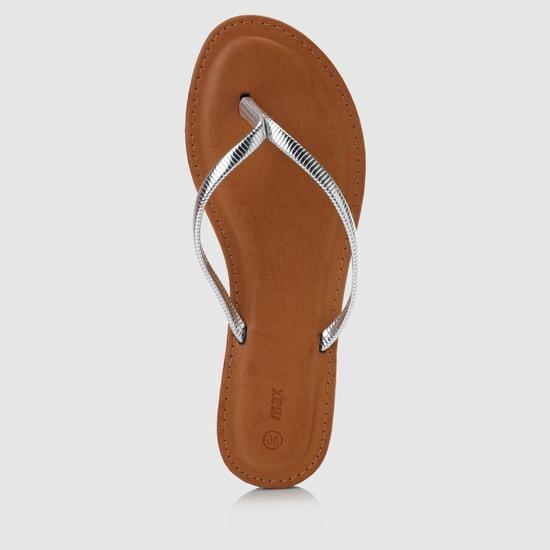 Textured Metallic Thong Slippers