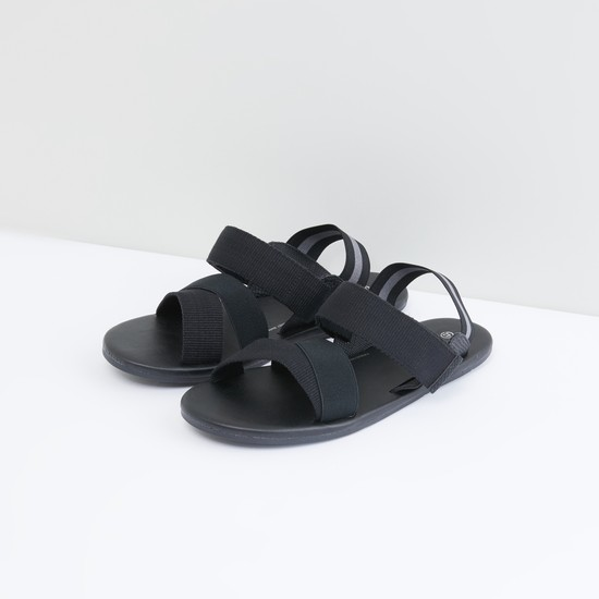 Slingback Sandals with Textured Straps