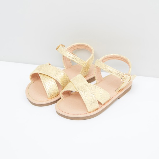 Ankle Strap Sandals with Pin Buckle Closure