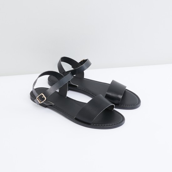 Strap Sandals with Buckle Closure