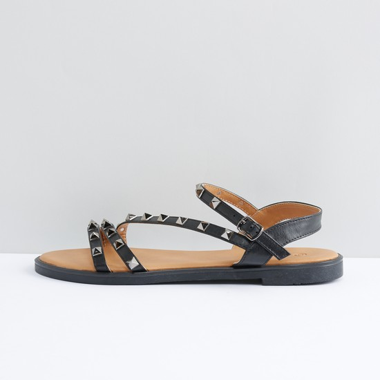 Studded Strap Sandals with Pin Buckle Closure