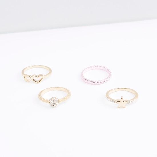 Metallic Glazed 4-Piece Ring Set