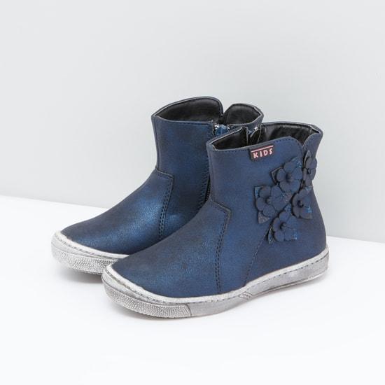 Flower Applique Detail Boots with Zip Closure