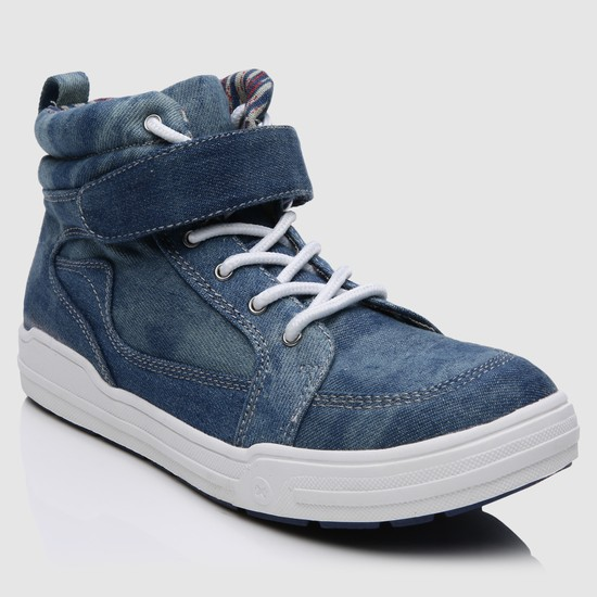 Denim High Top Shoes with Hook and Loop Closure
