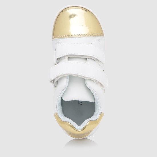Metallic Detail Shoes with Hook and Loop Closure
