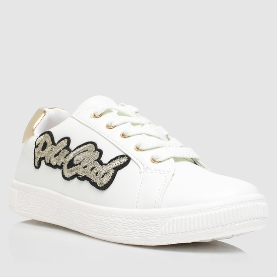 Lace-Up Sneakers with Embroidered Applique