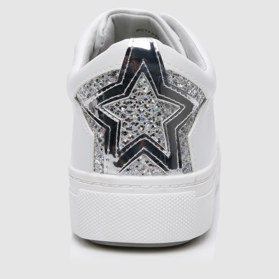 Mid-Heel Lace-Up Sneakers with Embellished Detail
