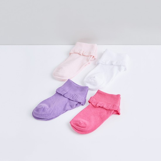 Textured Ankle Length Socks with Frill Detail - Set of 4