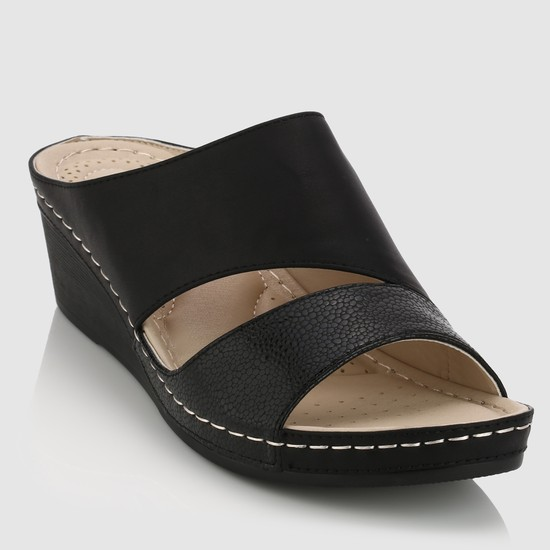 Slip-On Sandals with Stitch Detail