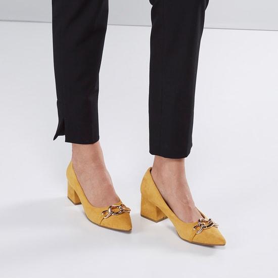 Metallic Detail Slip-On Shoes with Block Heels