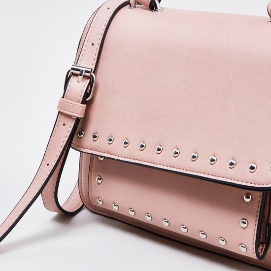 Embellished Crossbody Bag with Handle Strap and Crossbody Strap