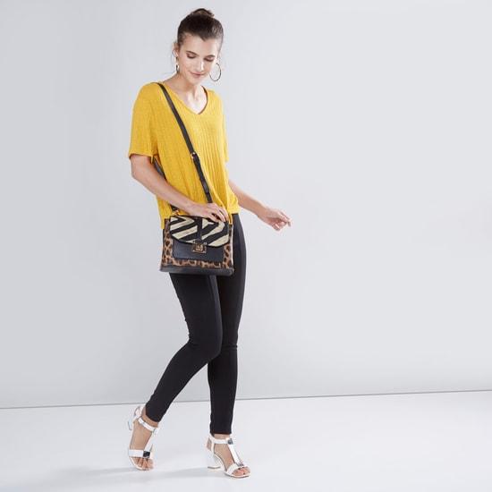 Printed Satchel Bag with Adjustable Strap