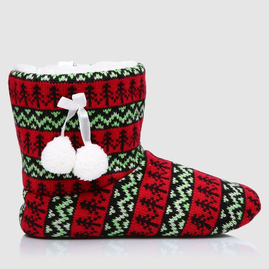Woven Bedroom Boots with Pom Poms