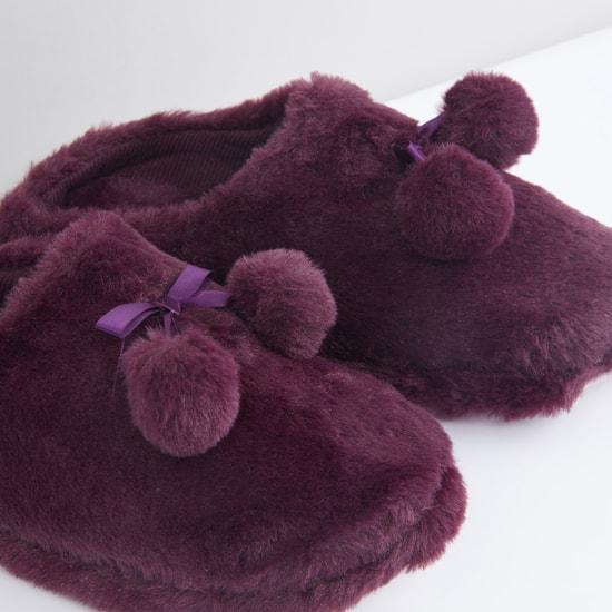 Plush Bedroom Flip Flops with Bow and Pom-Pom Applique