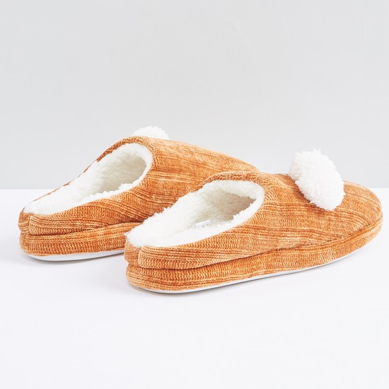 Plush Slides with Pom-Pom Detail