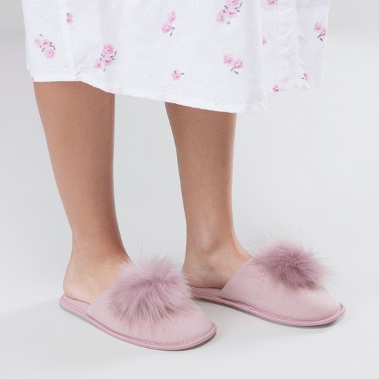 Heathered Bedroom Slippers with Pom Pom