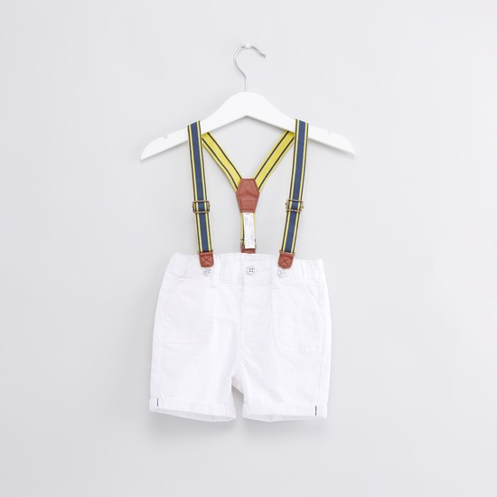 Printed Short Sleeves T-Shirt with Suspender Style Shorts
