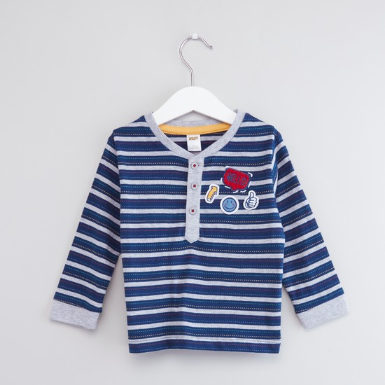 Striped Henley Neck T-shirt with Long Sleeves and Appliques