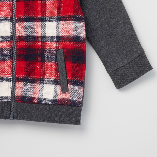 Checked Bomber Jacket with Long Sleeves and Zip Fly Closure