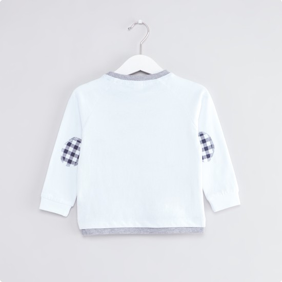 Embroidered T-shirt with Round Neck and Long Sleeves