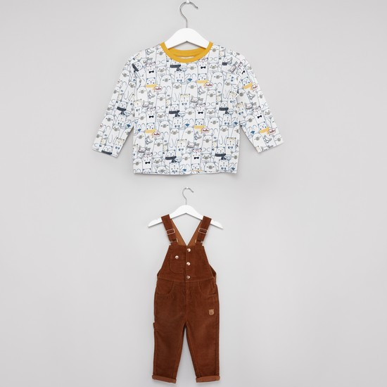 Textured Dungaree with Round Neck T-shirt Set