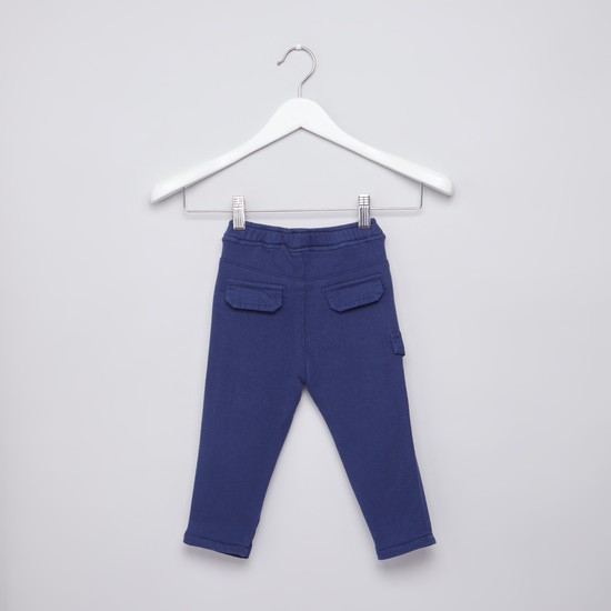 Plain Pants with Elasticised Waistband and Pocket Detail
