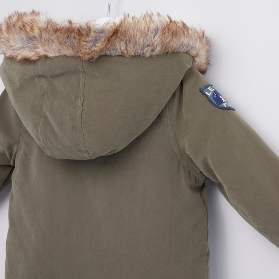 Solid Parka Jacket with Long Sleeves and Fur Detail Hood