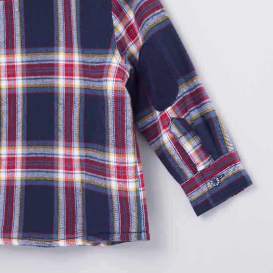 Chequered Shacket with Long Sleeves and Flap Pockets
