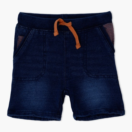 Denim Shorts with Waistband and Drawstring