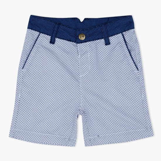 Printed Shorts with Contrast Waistband