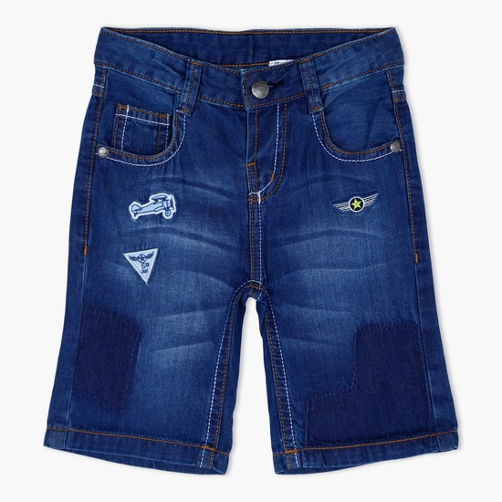 Faded Denim Shorts with Embroidered Appliques