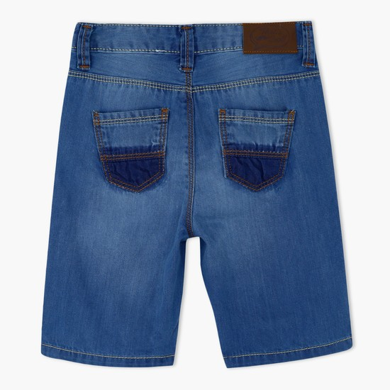 Denim Shorts with Contrasting Pockets