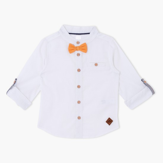 Mandarin Collar Roll Up Sleeves Shirt