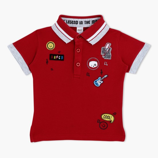 Short Sleeves Polo Neck T-Shirt with Applique Work