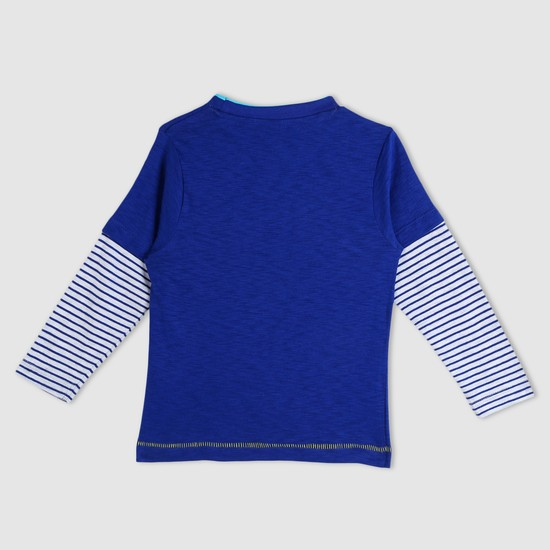 Printed Long Sleeves T-Shirt with Zip Detailing