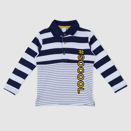 Striped Long Sleeves Polo Neck T-Shirt