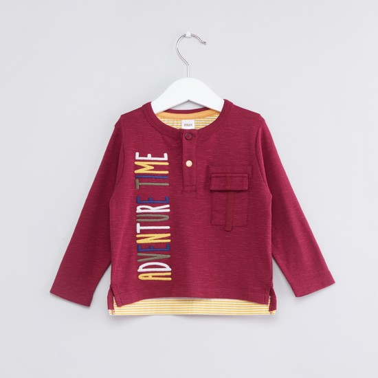 Embroidered Henley Neck Long Sleeves T-Shirt