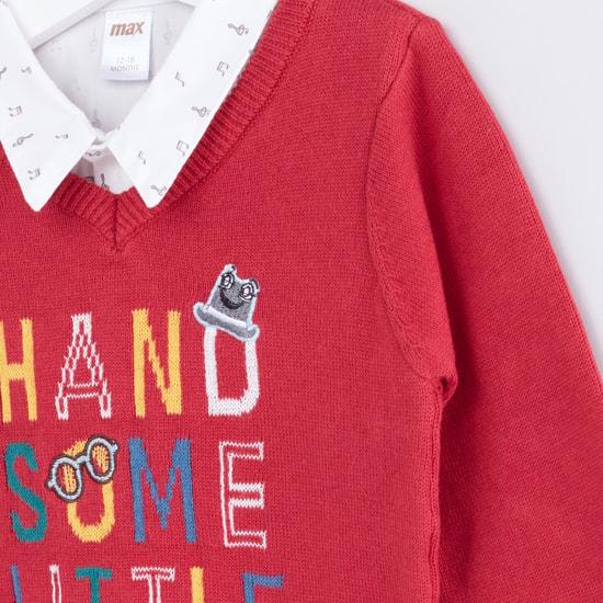 Printed Mock Collar Long Sleeves Sweater