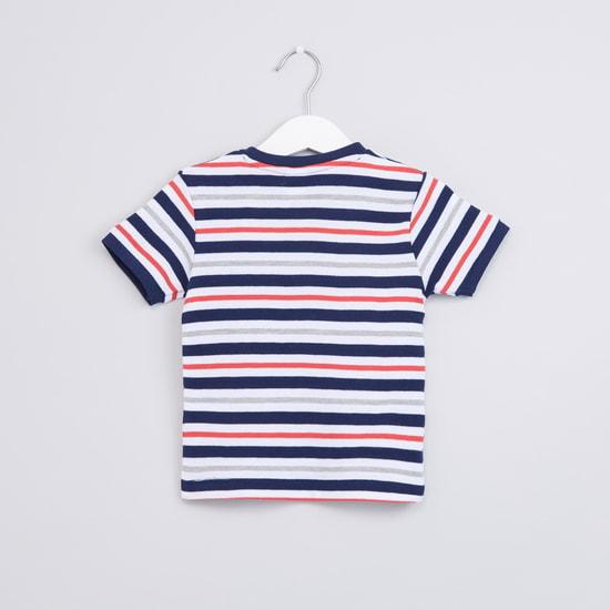 Striped Henley Neck Short Sleeves T-Shirt
