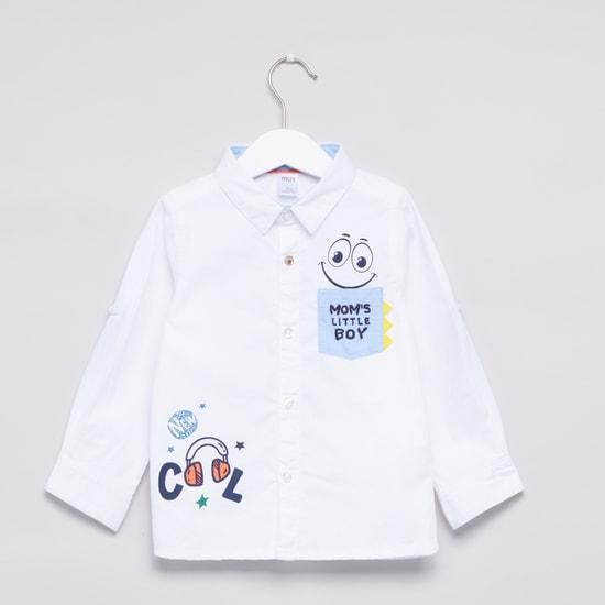 Printed Pocket Detail Long Sleeves Shirt
